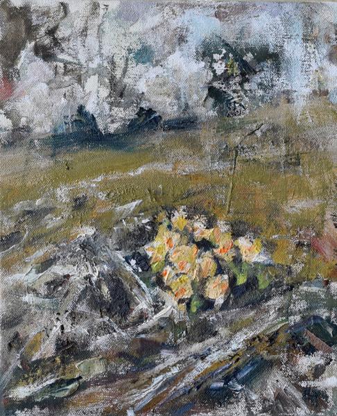 Yellow Roses in Hoar Frost